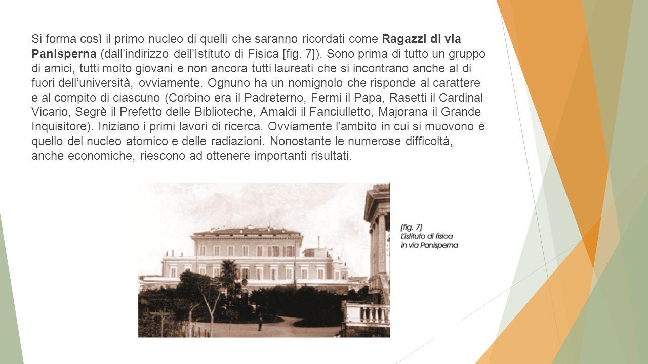 Si forma così il primo nucleo di quelli che saranno ricordati come Ragazzi di via Panisperna (dall'indirizzo dell'Istituto di Fisica [fig.